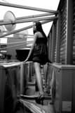 Young romantic model on a skyscraper roof.