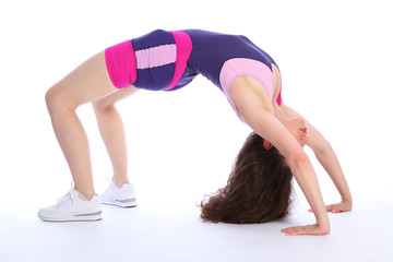Woman in crab position during fitness workout