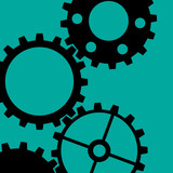 Four different sketchy black gear wheels on a green background poster