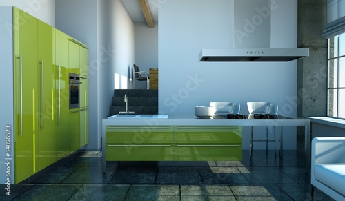 k chendesign gr ne k che im loft stockfotos und. Black Bedroom Furniture Sets. Home Design Ideas