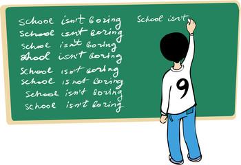 Kid writing on the blackboard. School isn't boring!