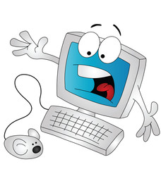 Cartoon computer being scared by the mouse