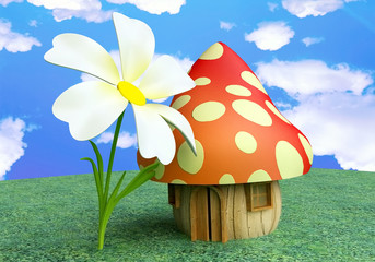 Fairy Mushroom Cottage with Flower in 3D