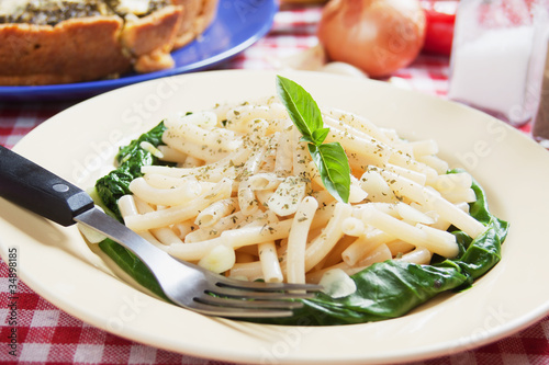 Macaroni pasta with galic and silverbeet