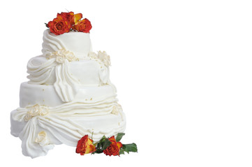 Marzipan wedding cake with natural roses isolated on white