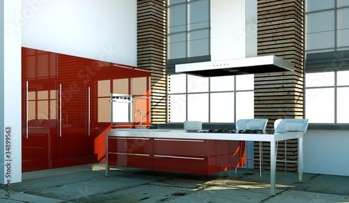 Küchendesign - rote Küche im Loft