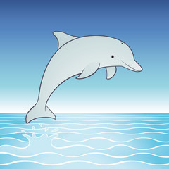 Vector cute jumping dolphin cartoon character