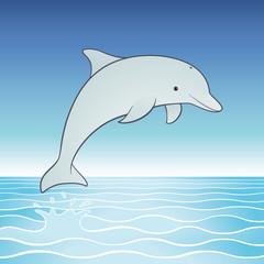Vector cute jumping dolphin cartoon character