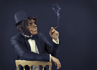 Gorilla gangster with tuxedo smoking cigar