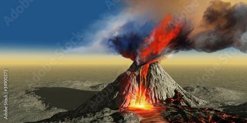 Leinwanddruck Bild Volcano Smoke