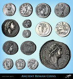 Fototapety Engraving vintage ancient roman coins set