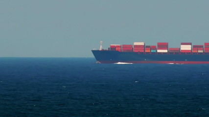 Container Ship Passing By. Speed Up.