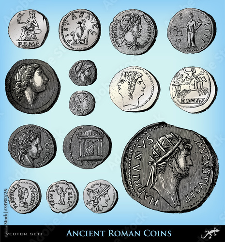 Engraving vintage ancient roman coins set