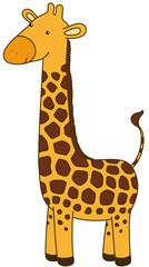 Vector cute giraffe cartoon character, isolated, no gradients