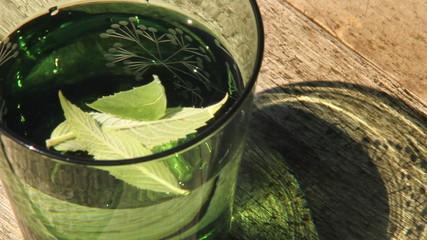 Apetyczna szklanka wody z miętą