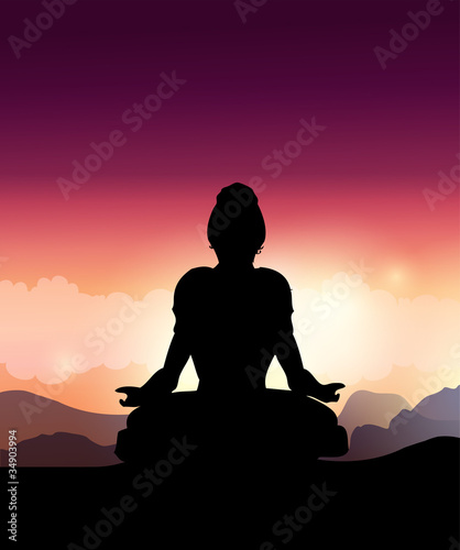 Woman Silhouette Doing Yoga  Meditation.Vector Illustration