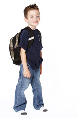 Young schoolboy with backpack