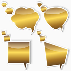 Golden stickers from speech bubbles.
