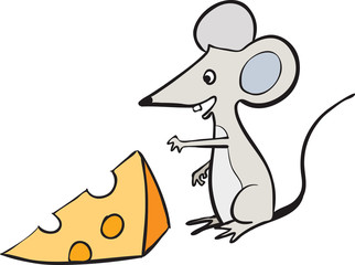 Mouse and a slice of swiss cheese