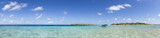 Fototapety Boat on blue lagoon panoramic view