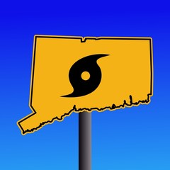 Connecticut warning sign with hurricane symbol illustration