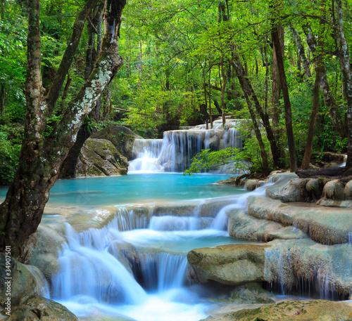 Plexiglas Watervallen Erawan Waterfall, Kanchanaburi, Thailand