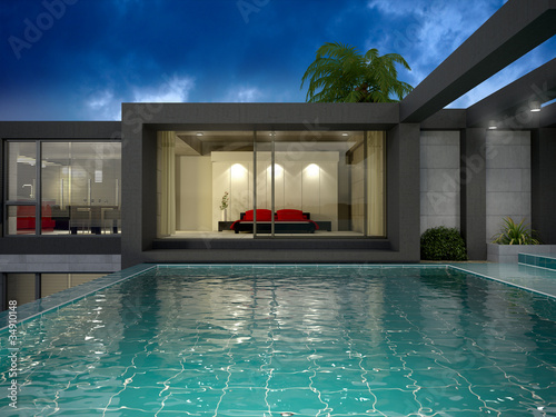 Modern house with pool - 34910148