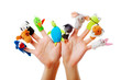 Female hands wearing 10 finger puppets