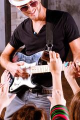 Rock guitarist in action