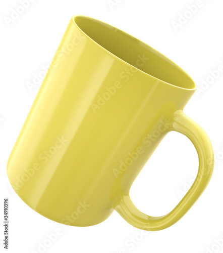 Yellow mug, 3D render