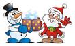 Snowman and Santa Toasting