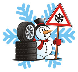 Snowman with Winter Tires and Sign