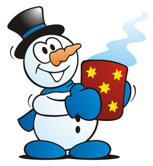 Snowman with hot Drink