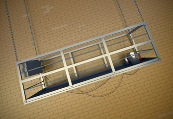 Construction elevator. 3D render.