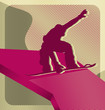 Modern abstract sport vector background design. Snowboarding.