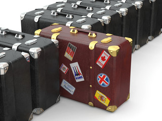 Choose travel. Many suitcases. 3d