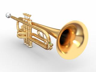 Golden trumpet. 3d
