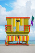 green lifeguard tower on Miami Beach