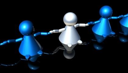 3D Menschenkette 3