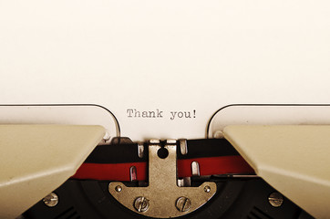 Thank you written with a typewriter