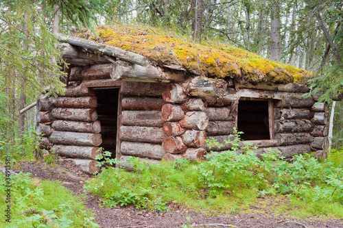 Old traditional log cabin rotting in Yukon taiga