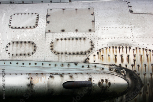 Close-up of rusty surface of aircraft