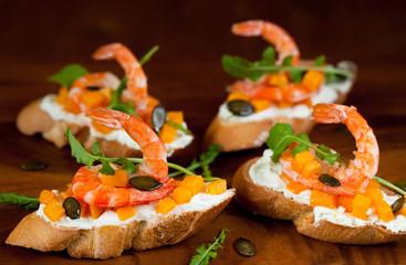 Shrimp and pumpkin toast
