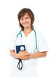 female doctor with stethoscope and blood pressure cuff