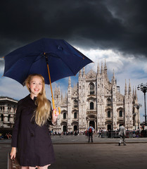 tourist in Milan before storm