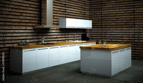 k chendesign weisse k che vor holzwand stockfotos und lizenzfreie bilder auf. Black Bedroom Furniture Sets. Home Design Ideas