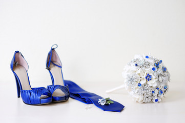 Blue wedding accessories on a white background