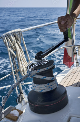 Italy, Sicily, cruising on a sailing boat, winch