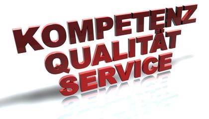 3D Schrift 3 - Kompetenz Qualität Service