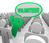 Volunteer Speech Bubble Person in Helper Crowd
